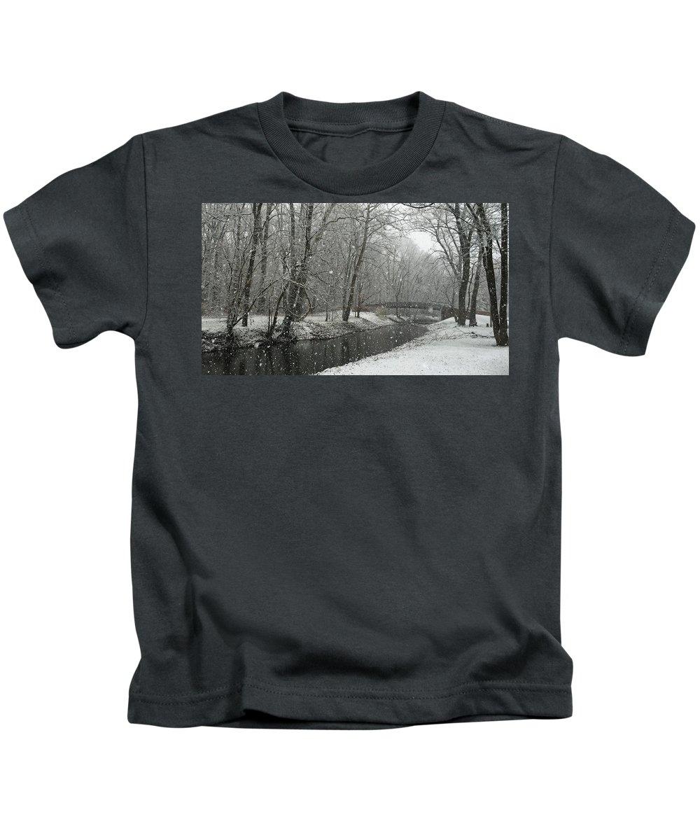 Brownsburg Kids T-Shirt featuring the photograph Arbuckle Bridge by Dan McCafferty