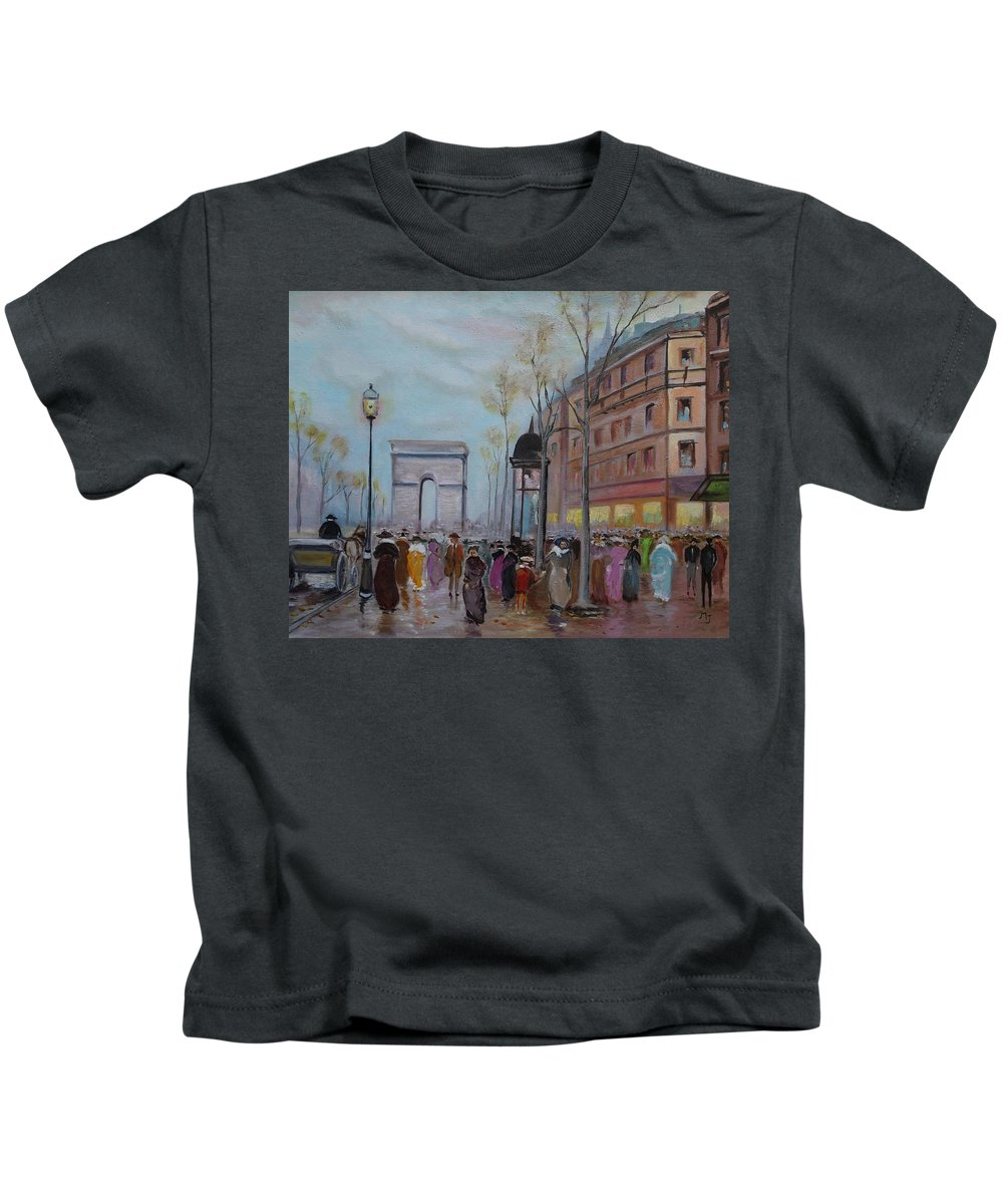Paris Kids T-Shirt featuring the painting Arc De Triompfe - Lmj by Ruth Kamenev