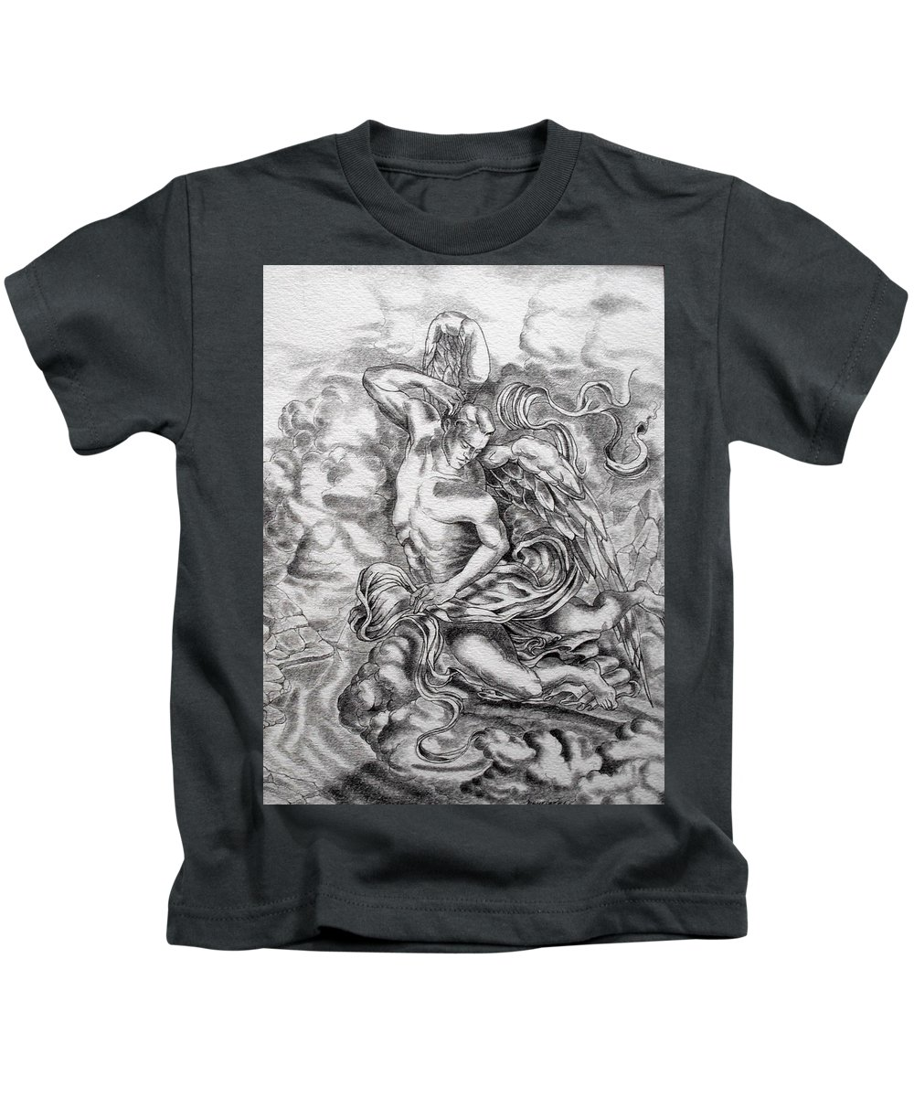 Angel Art Kids T-Shirt featuring the drawing Arch Angel by Gary Renegar