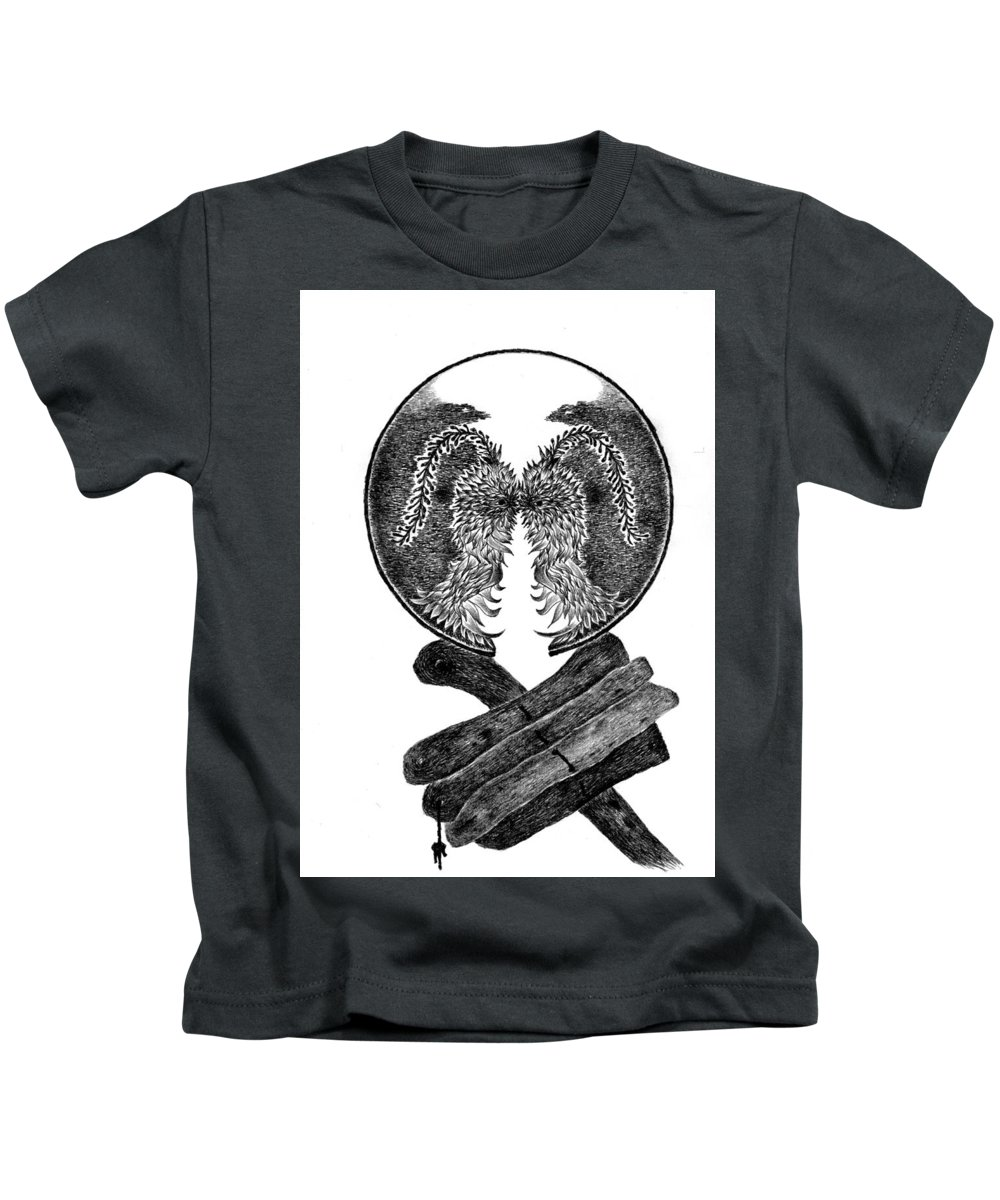 Kids T-Shirt featuring the drawing Archaic Vision by Adhi Aldrin