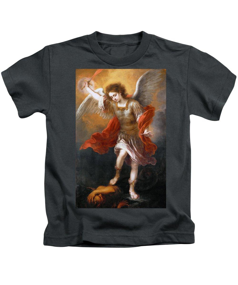Bartolome Esteban Murillo Kids T-Shirt featuring the painting Archangel Michael Hurls The Devil Into The Abyss by Bartolome Esteban Murillo