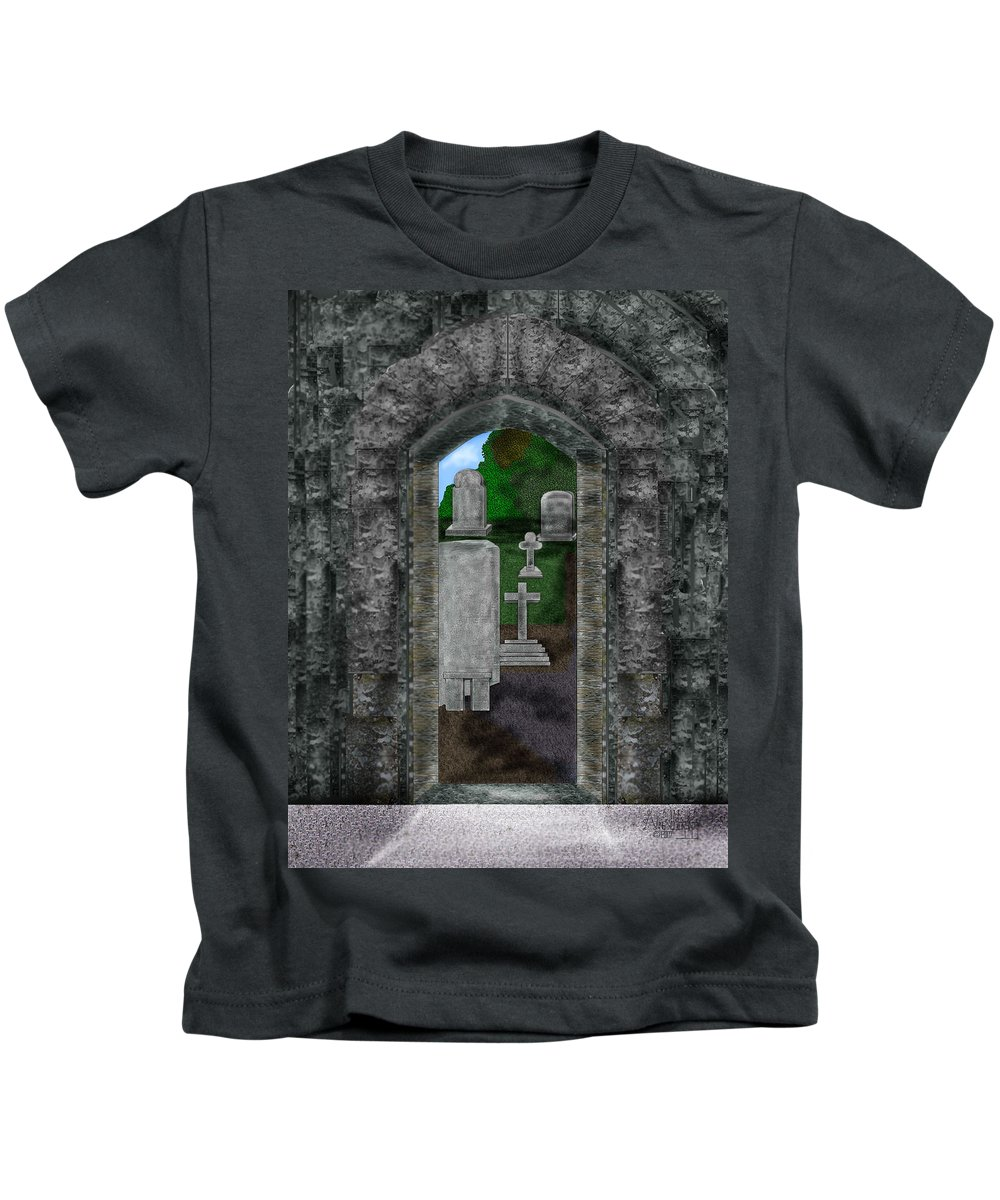 Digital Landscape Kids T-Shirt featuring the painting Arches And Cross In Ireland by Anne Norskog
