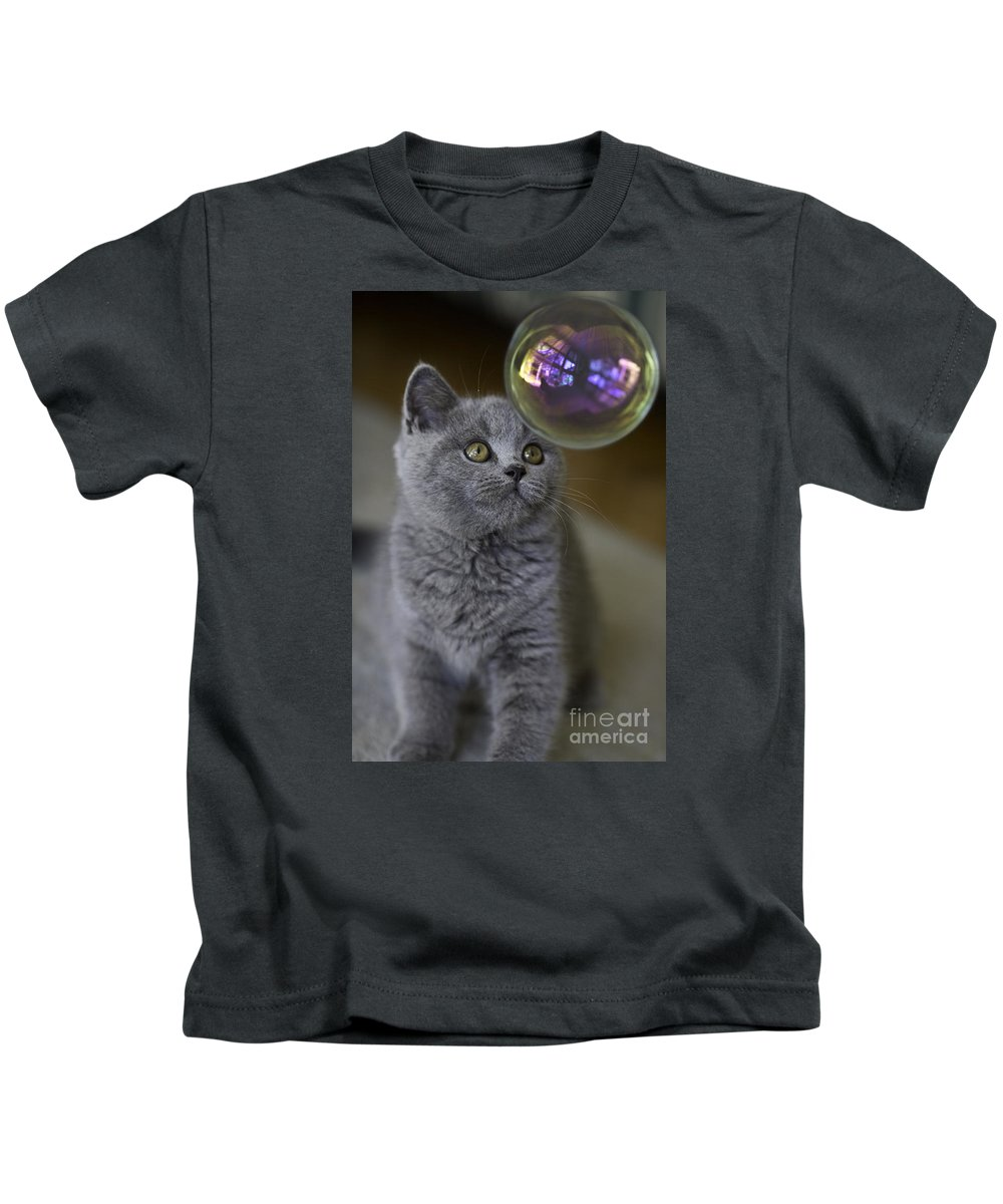 Cat Kids T-Shirt featuring the photograph Archie With Bubble by Sheila Smart Fine Art Photography