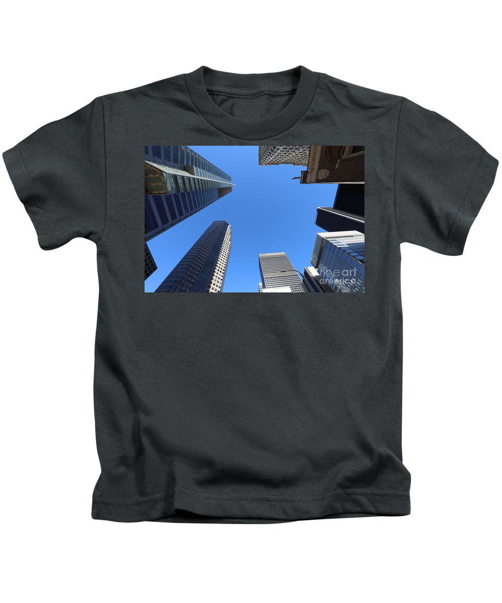 Architectural Kids T-Shirt featuring the photograph Architecture Tall Color Buildings by Chuck Kuhn