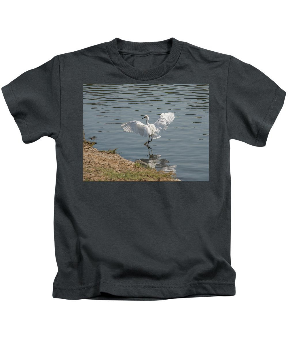 Bird Kids T-Shirt featuring the photograph Are You Ready To Dance - Great Egret in Mtn View CA by Michael Bessler
