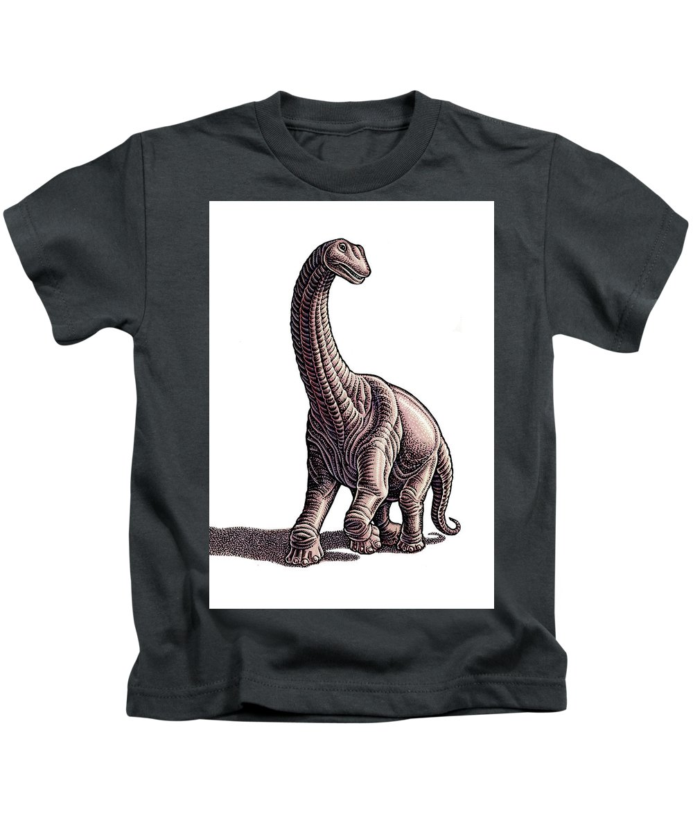 Animal Kids T-Shirt featuring the drawing Argentosaurus by Lisa Haney
