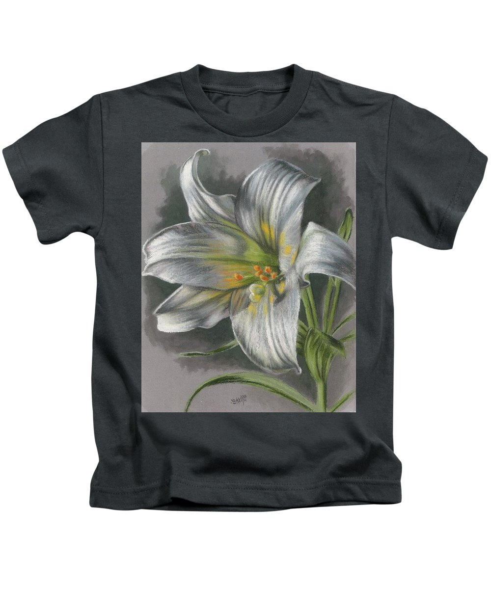 Easter Lily Kids T-Shirt featuring the mixed media Arise by Barbara Keith