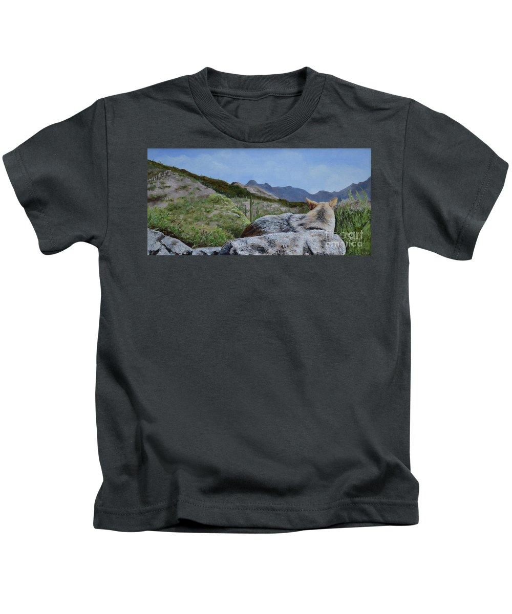 Coyote Kids T-Shirt featuring the painting Arizona Sentinel by Mary Rogers