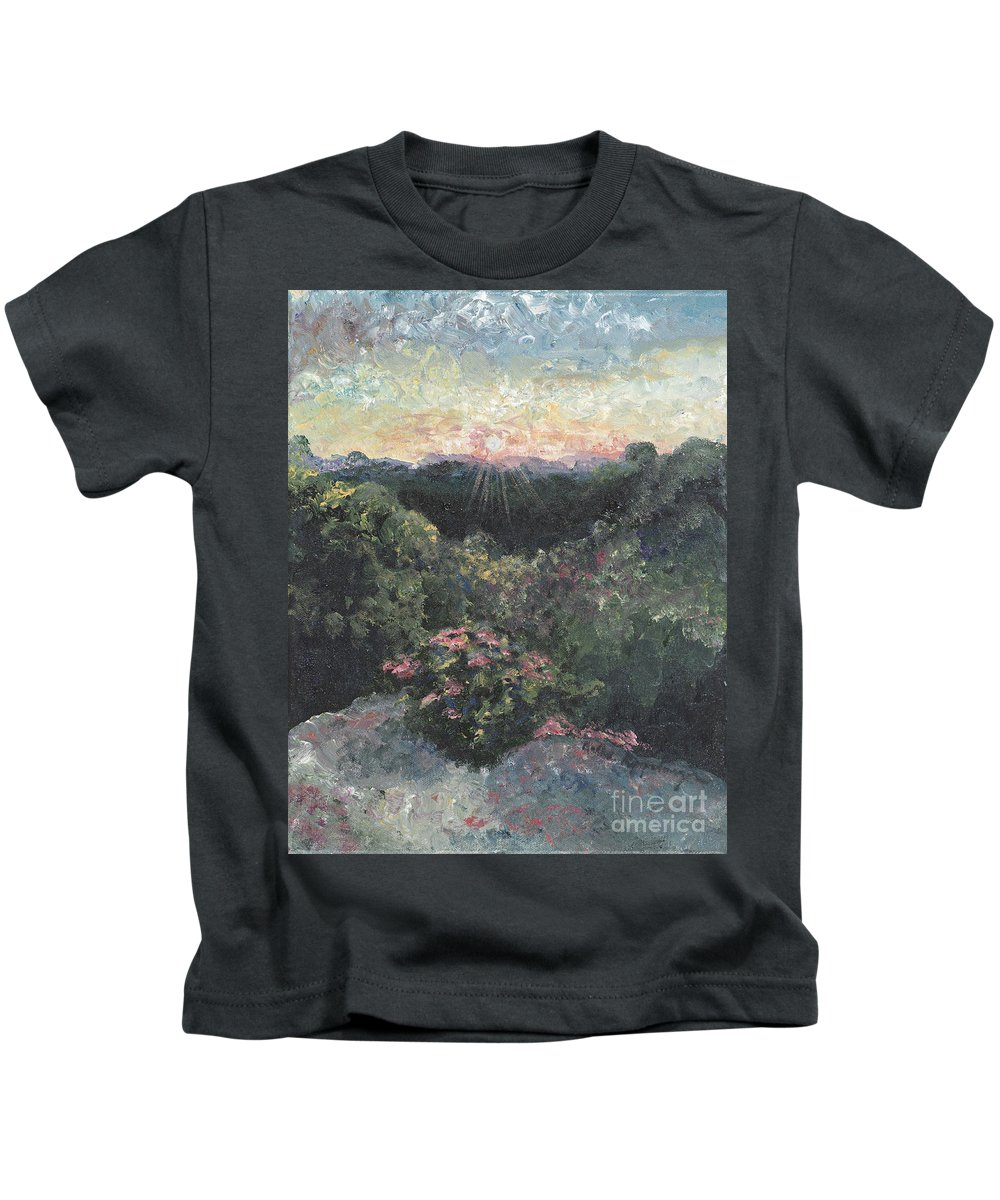 Landscape Kids T-Shirt featuring the painting Arkansas Mountain Sunset by Nadine Rippelmeyer