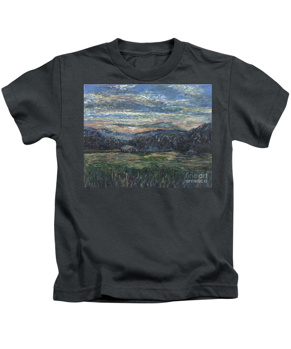 Impressionism Kids T-Shirt featuring the painting Arkansas Sunrise by Nadine Rippelmeyer