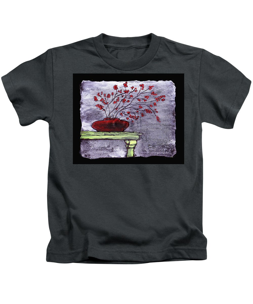 Flower Kids T-Shirt featuring the painting Arrangement In Red by Wayne Potrafka