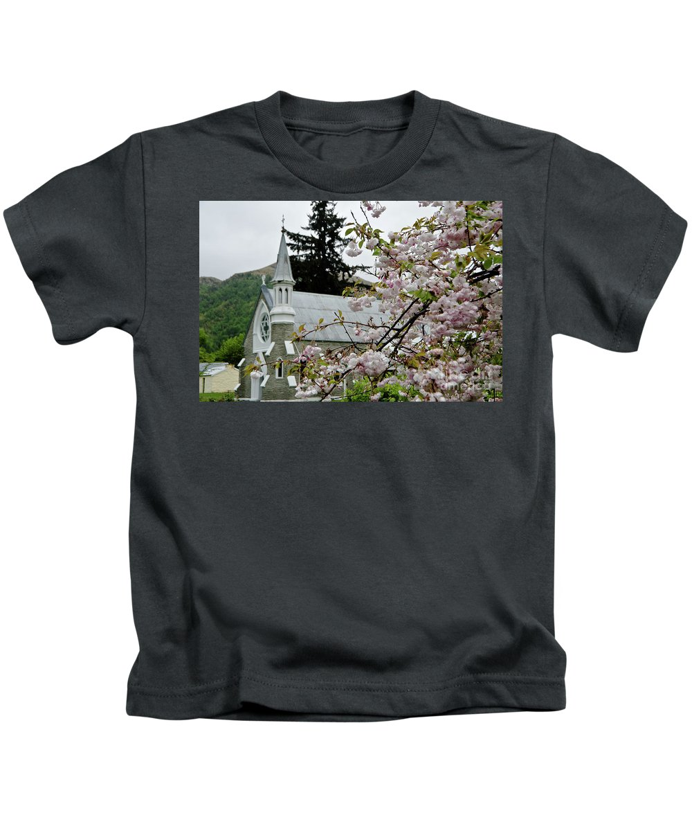 Queenstown Kids T-Shirt featuring the photograph Arrowtown Church On A Rainy Day, New Zealand by Yurix Sardinelly