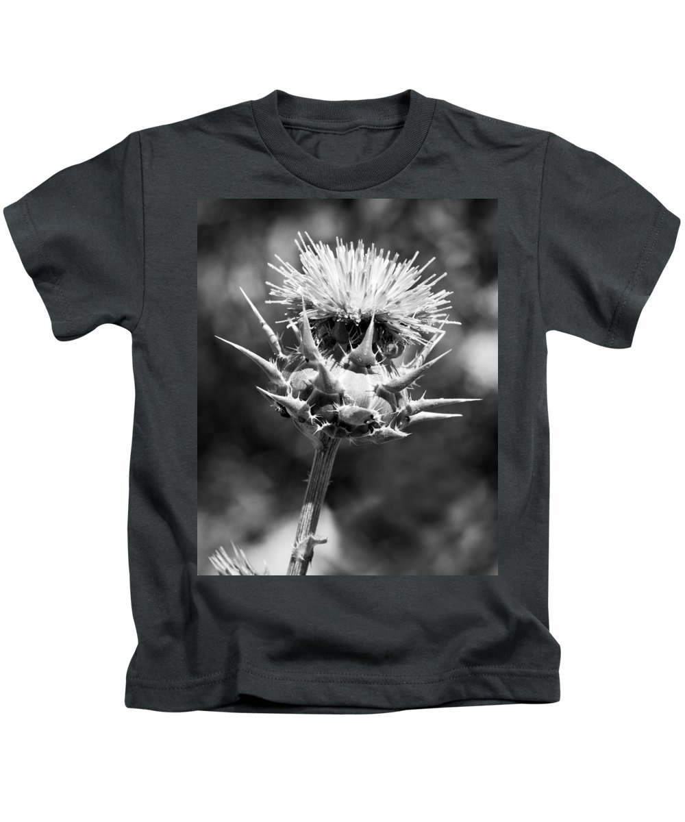 Artichoke Thistle Kids T-Shirt featuring the photograph Artichoke Thistle Bw by Kelley King