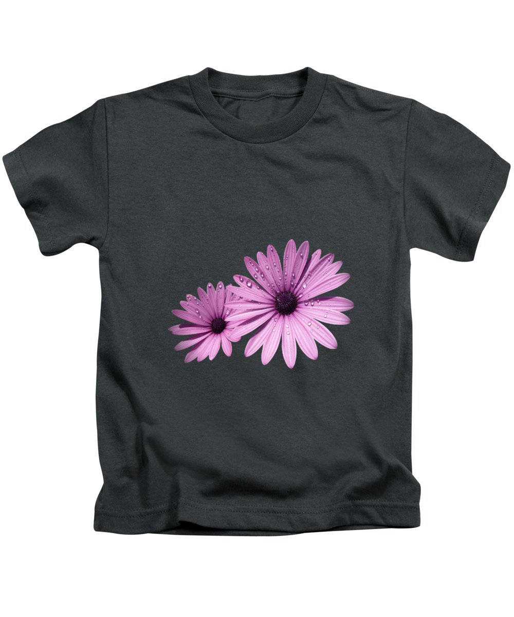 Osteospermum Kids T-Shirt featuring the photograph Dew Drops On Daisies by Valerie Anne Kelly