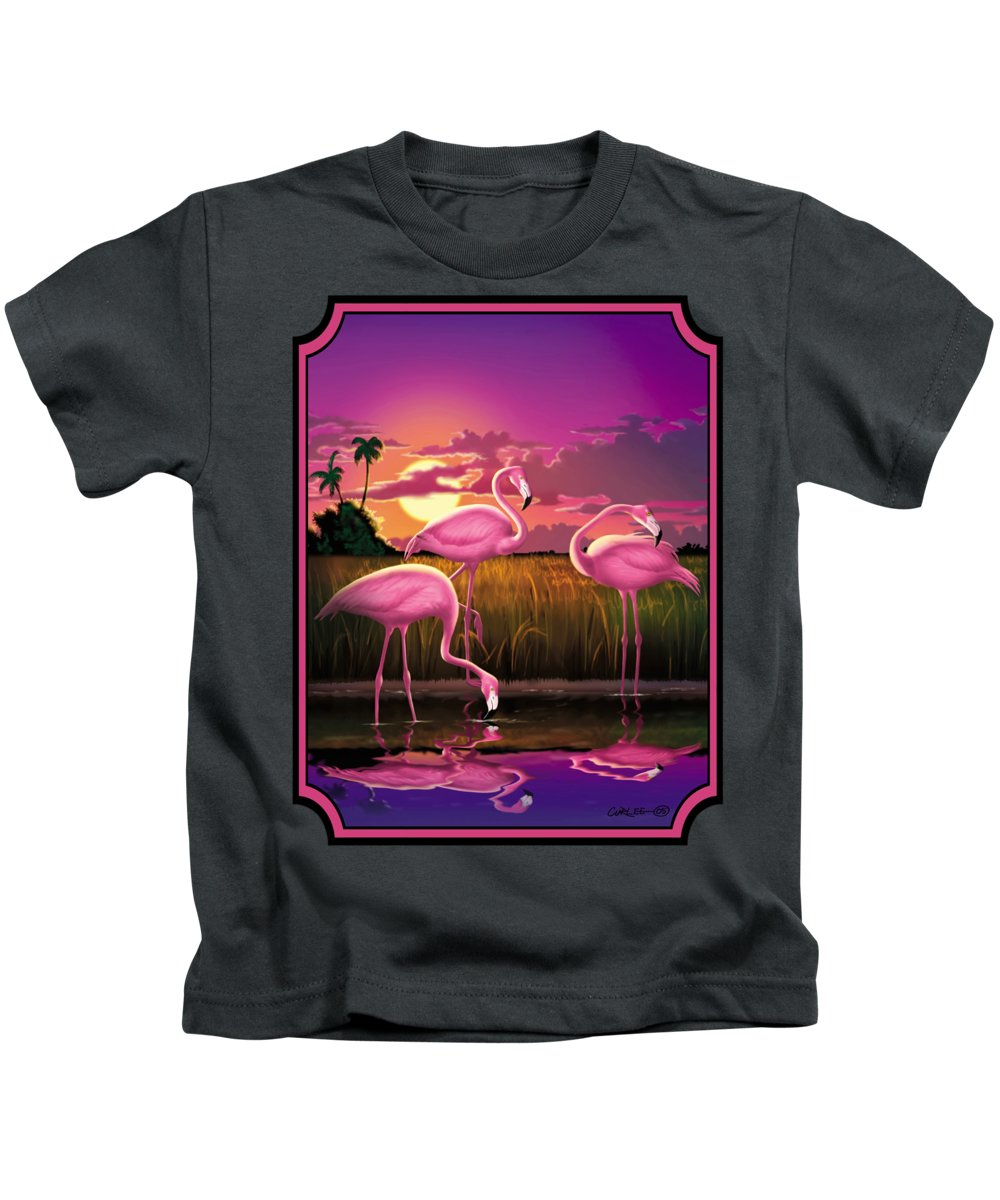 Flamingoes Kids T-Shirt featuring the photograph Flamingoes Flamingos Tropical Sunset Landscape Florida Everglades Large Hot Pink Purple Print by Walt Curlee