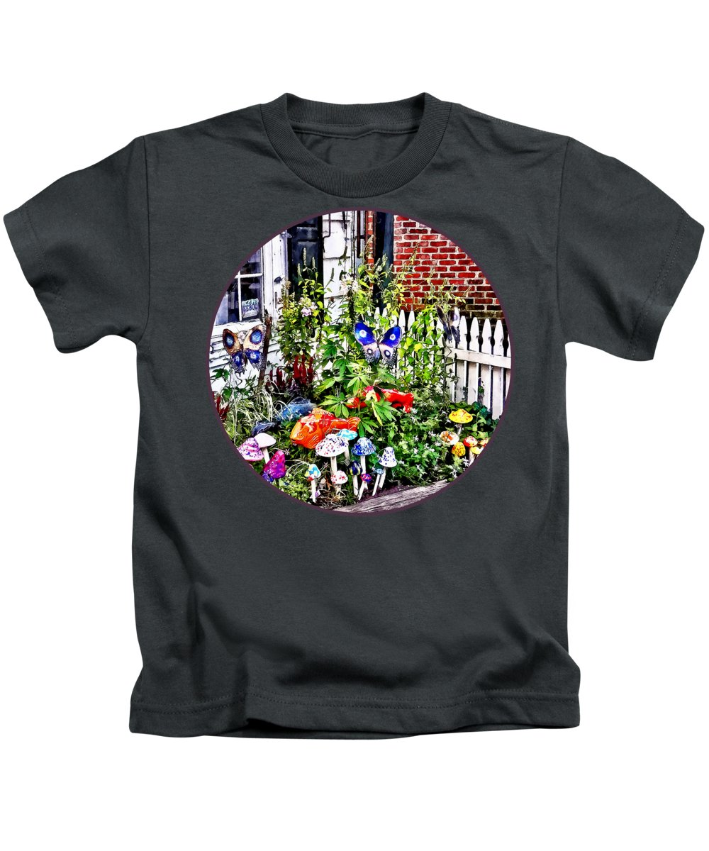 New Hope Kids T-Shirt featuring the photograph New Hope Pa - Garden Of Ceramic Mushrooms by Susan Savad