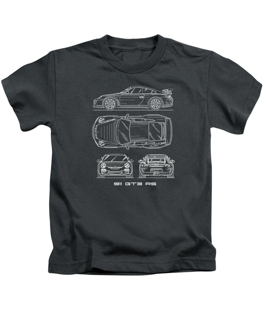 Porsche 911 Blueprint Kids T-Shirt featuring the photograph 911 Gt3 Rs Blueprint - White by Mark Rogan