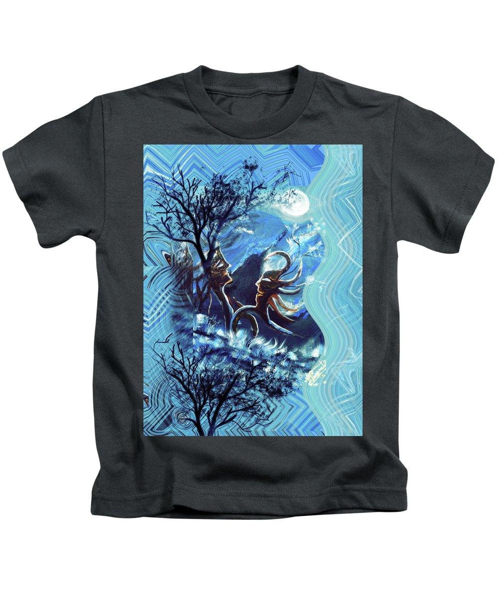 Landscape Kids T-Shirt featuring the painting Love For Moon Light by Artist Nandika Dutt