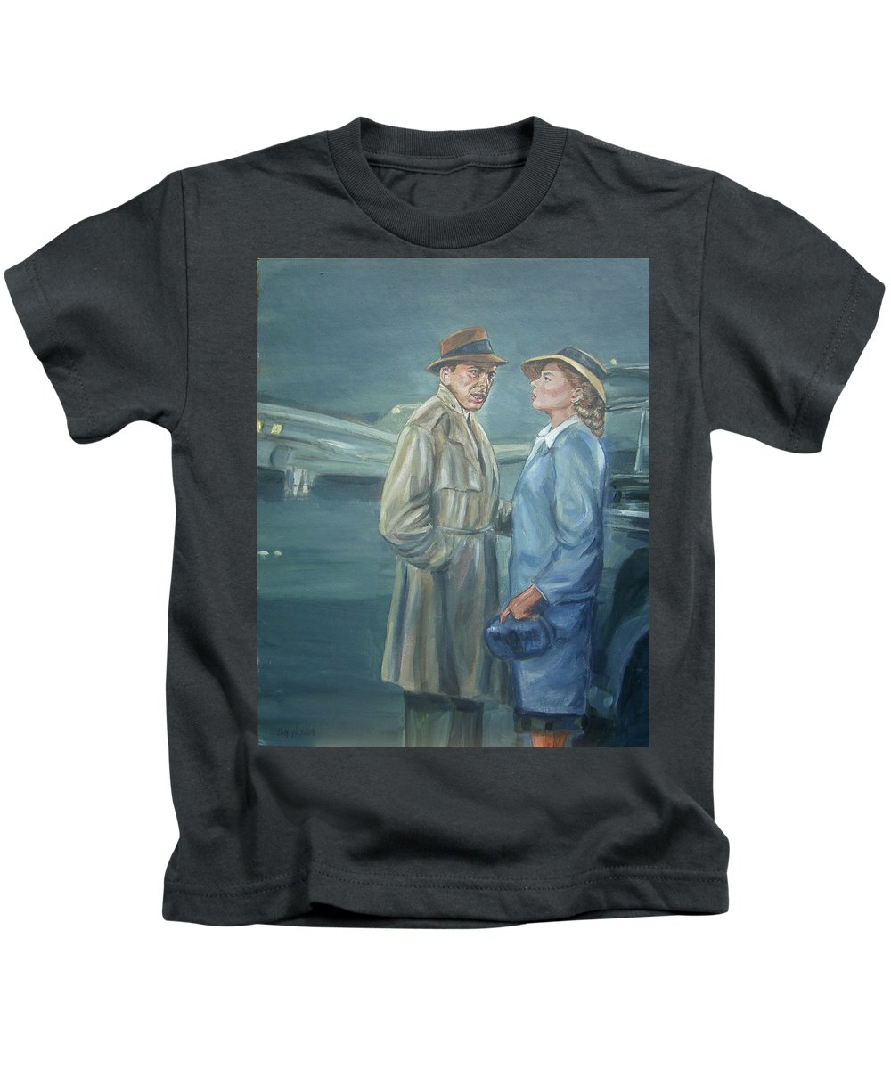 Casablanca Kids T-Shirt featuring the painting As Time Goes By by Bryan Bustard