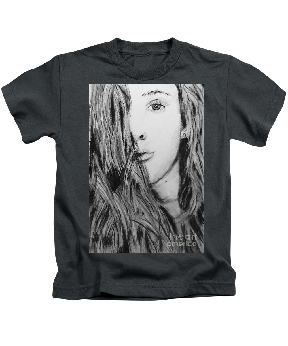 Portrait Kids T-Shirt featuring the drawing Aspen by Regan J Smith