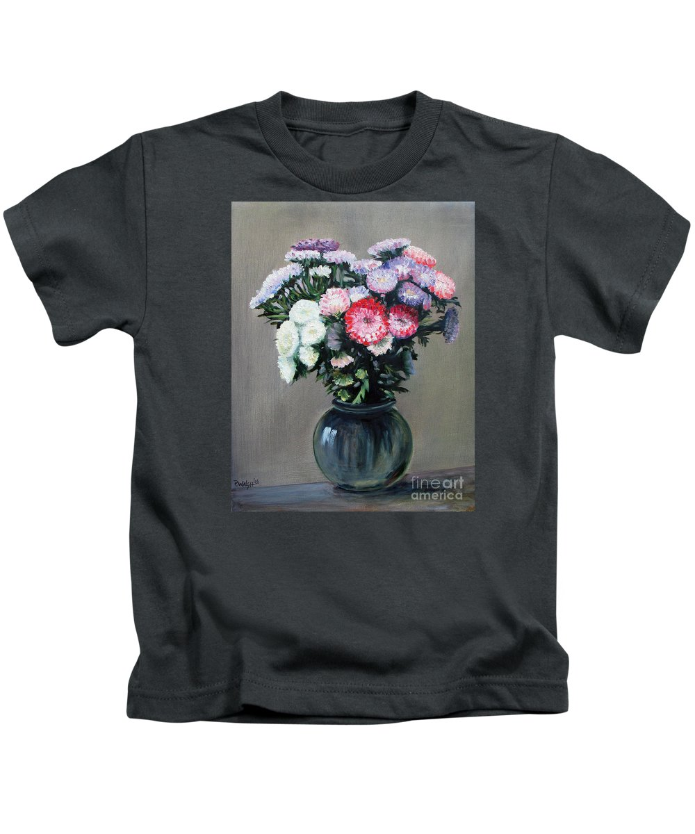 Flowers Kids T-Shirt featuring the painting Asters by Paul Walsh