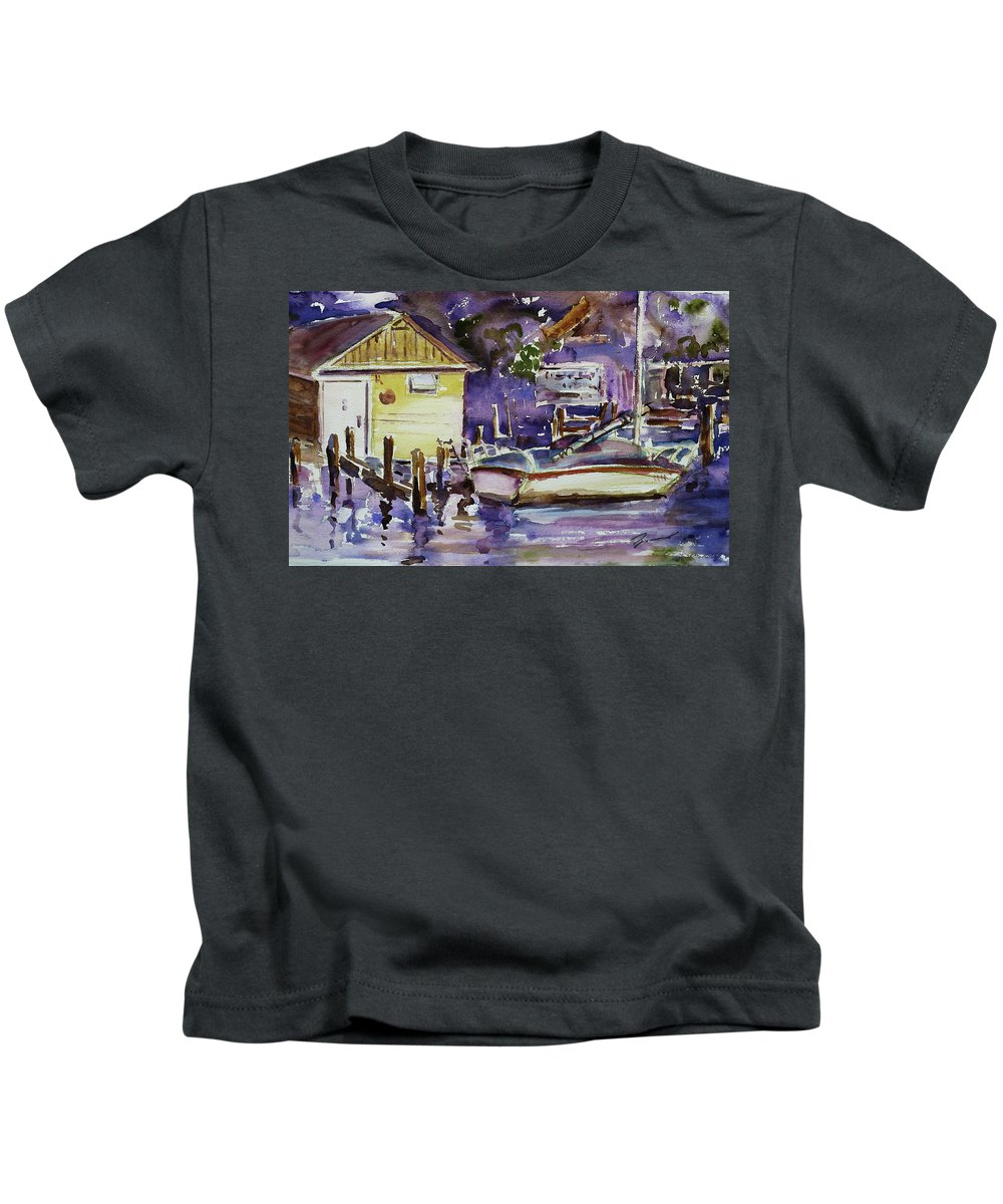 Boathouse Kids T-Shirt featuring the painting At Boat House 3 by Xueling Zou