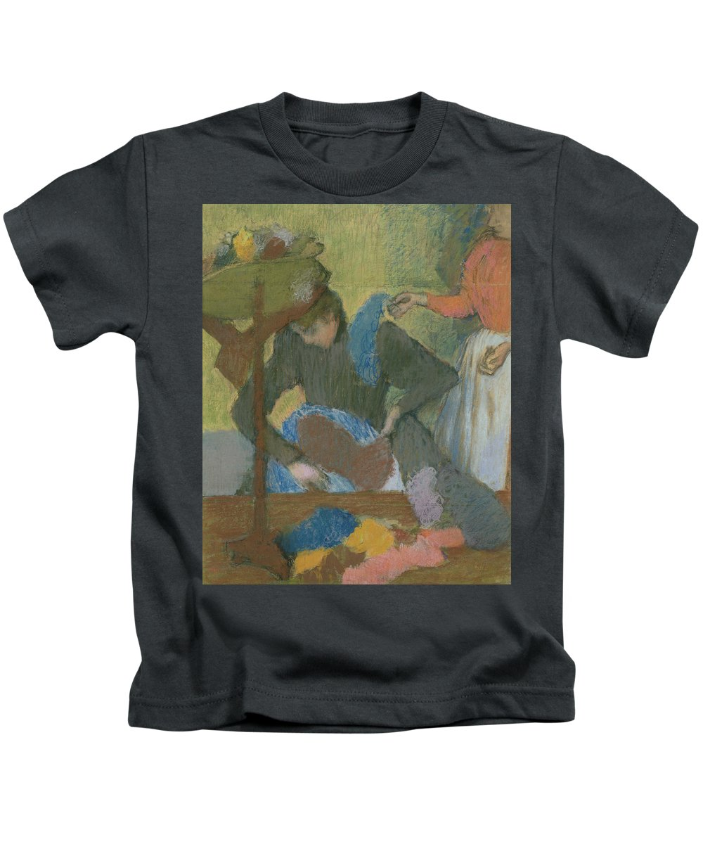 At The Milliner's Kids T-Shirt featuring the pastel At The Hat Maker by Edgar Degas