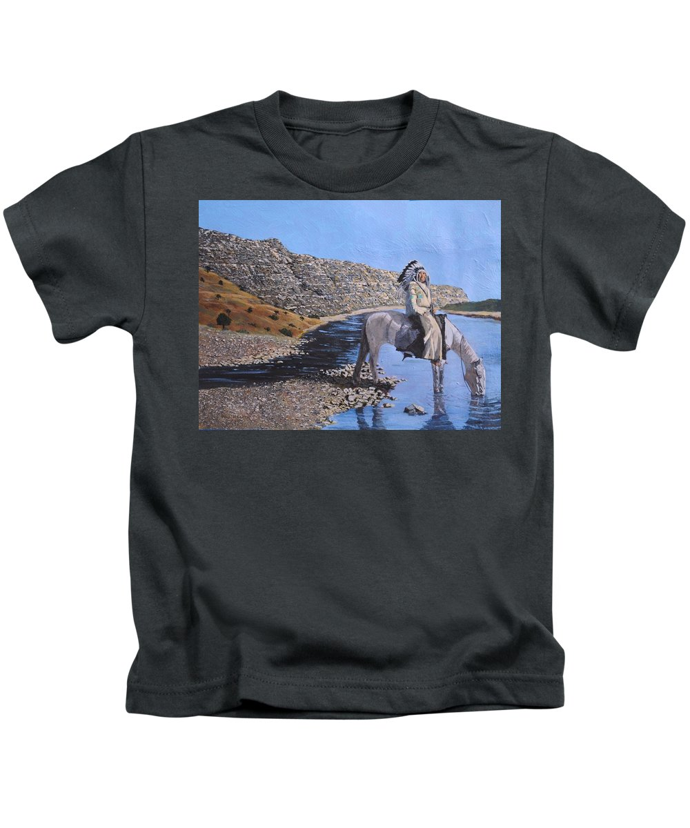 American Indian Kids T-Shirt featuring the painting At The River by Paul Larson