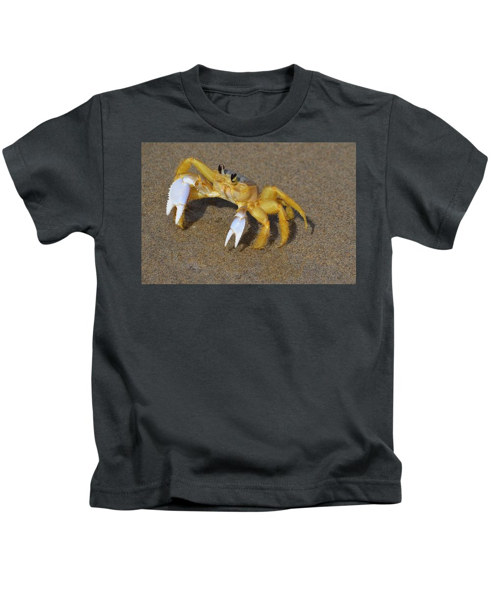 The Atlantic Ghost Crab Kids T-Shirt featuring the photograph An Atlantic Ghost Crab Playing In The Tide 3 by Adam Riggs