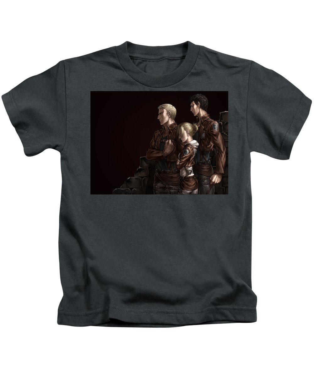 Attack On Titan Kids T-Shirt featuring the digital art Attack On Titan by Dorothy Binder
