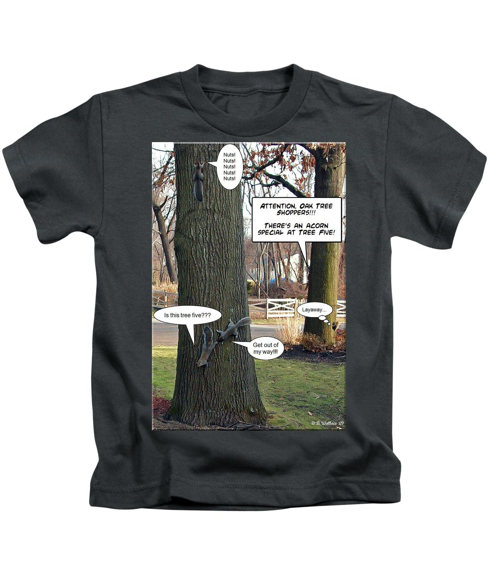 2d Kids T-Shirt featuring the photograph Attention Oak Tree Shoppers by Brian Wallace