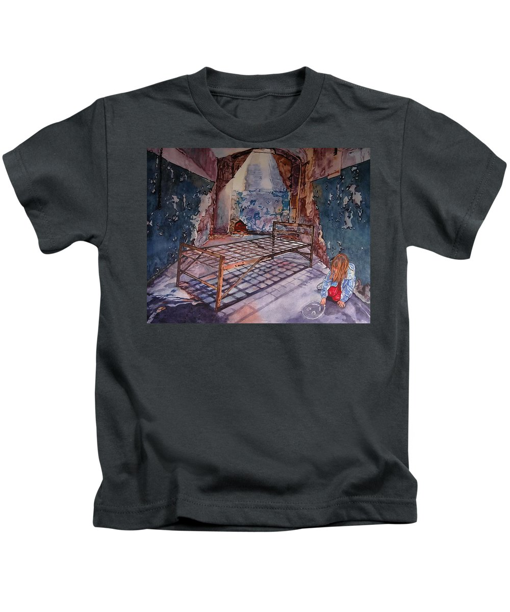 Social Commentary Kids T-Shirt featuring the painting Attitude by Valerie Patterson