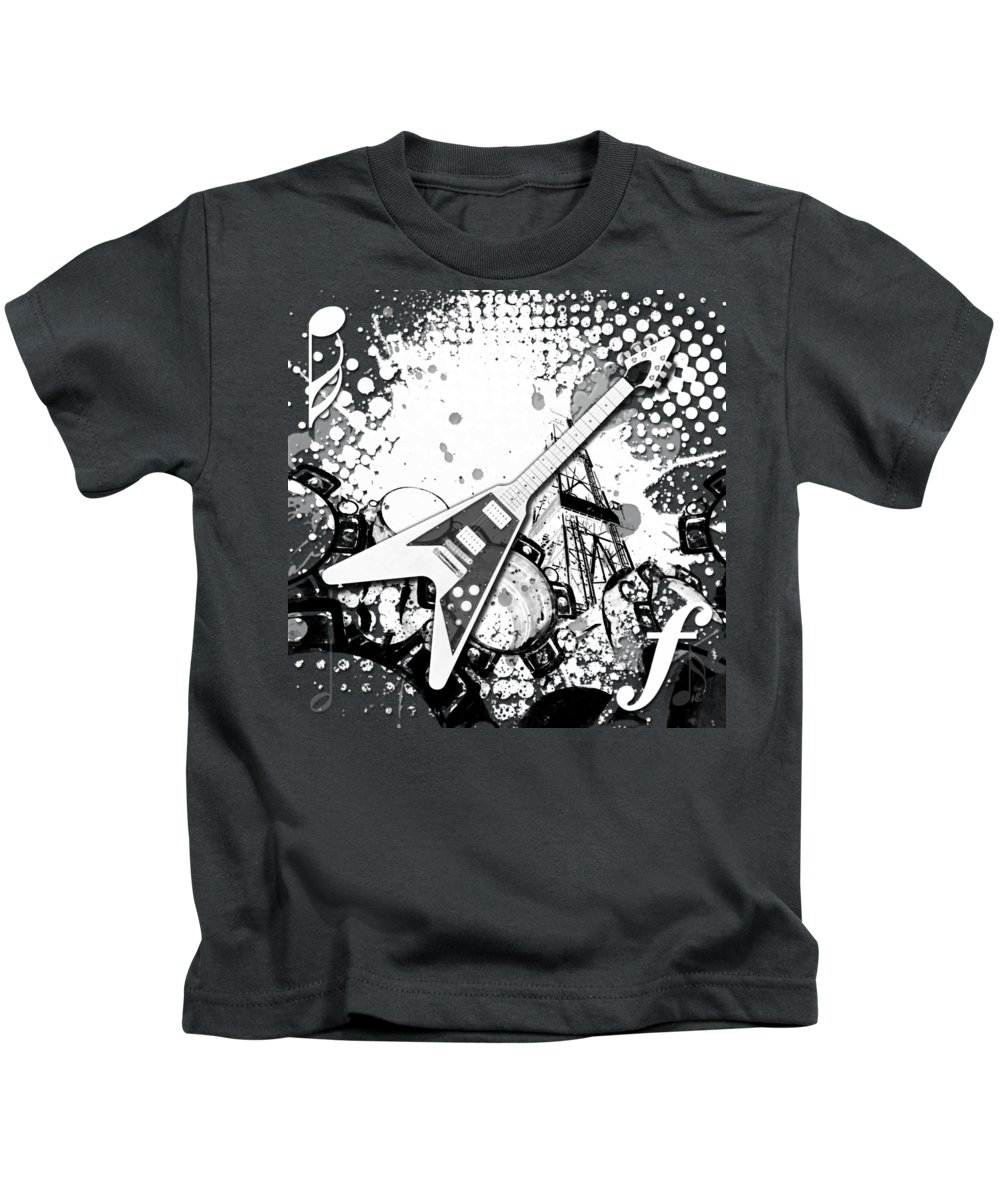 Abstract Kids T-Shirt featuring the digital art Audio Graphics 3 by Melissa Smith