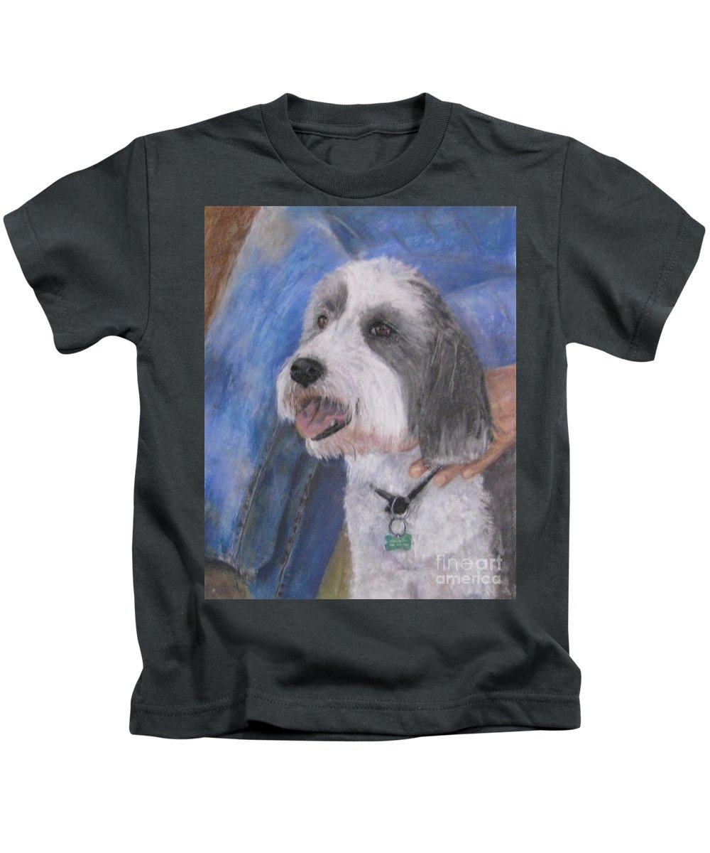 Dogs Kids T-Shirt featuring the painting Augie by Elizabeth Ellis