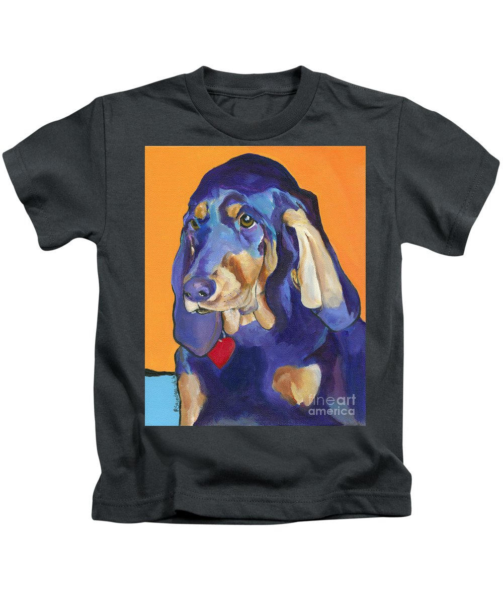 Bloodhound Kids T-Shirt featuring the painting Augie by Pat Saunders-White