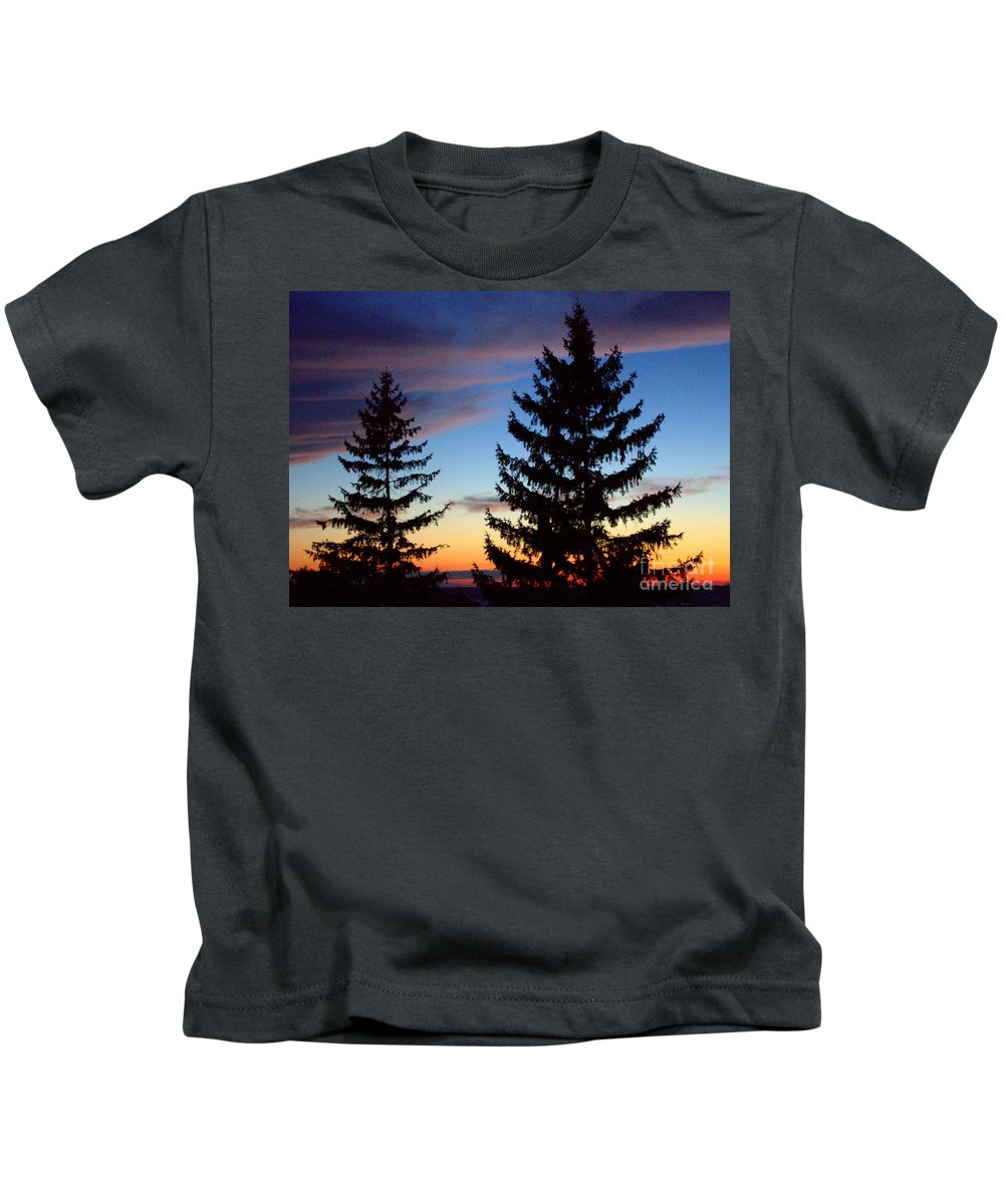 Grand Bend Kids T-Shirt featuring the photograph August Pine Clouds by John Scatcherd