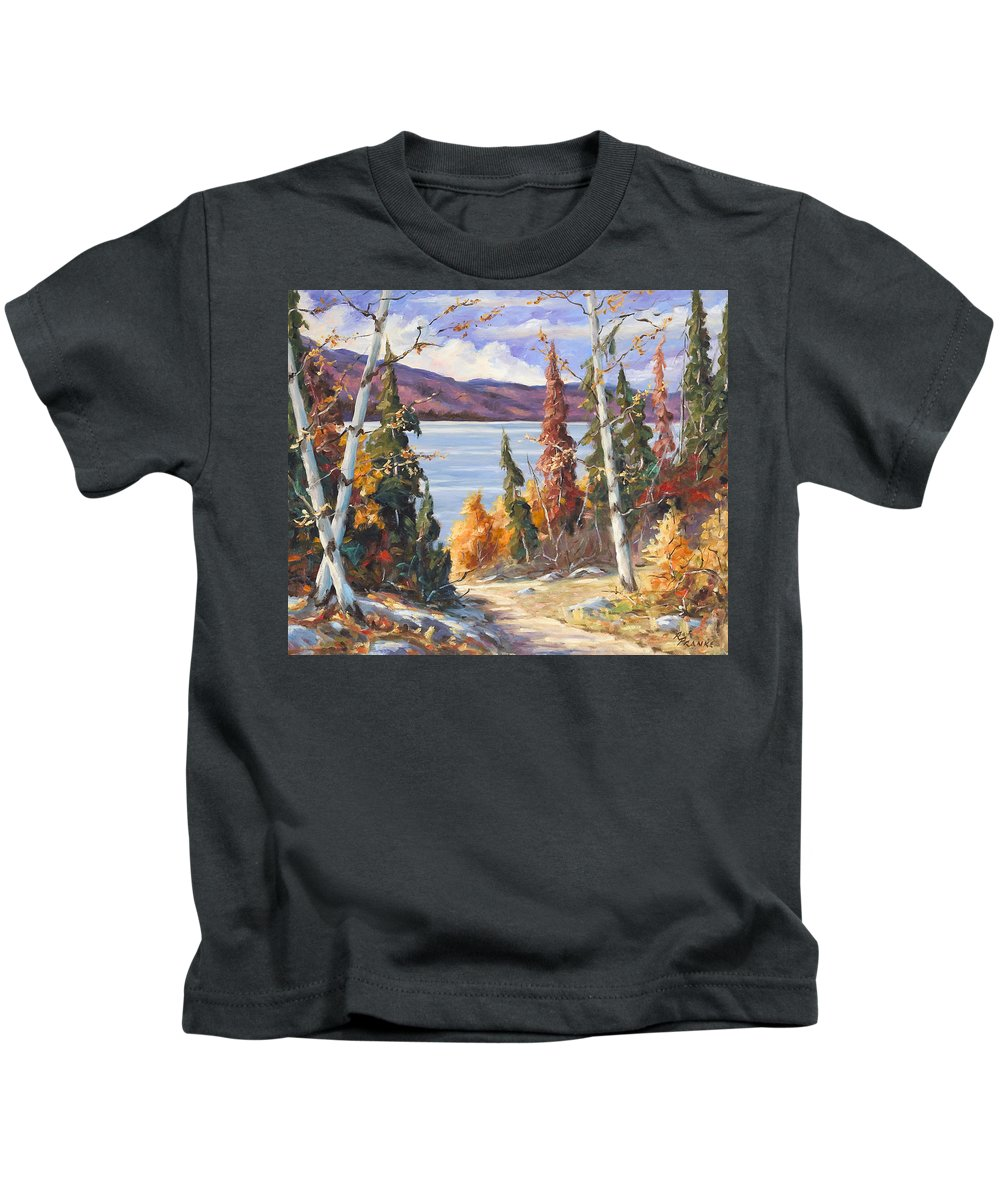 Art Kids T-Shirt featuring the painting Automn Colors by Richard T Pranke