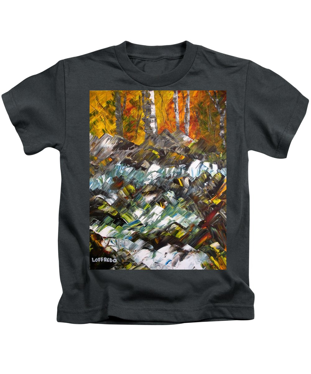 Fall Foliage Art Kids T-Shirt featuring the painting Autumn At The River by Ralph Loffredo