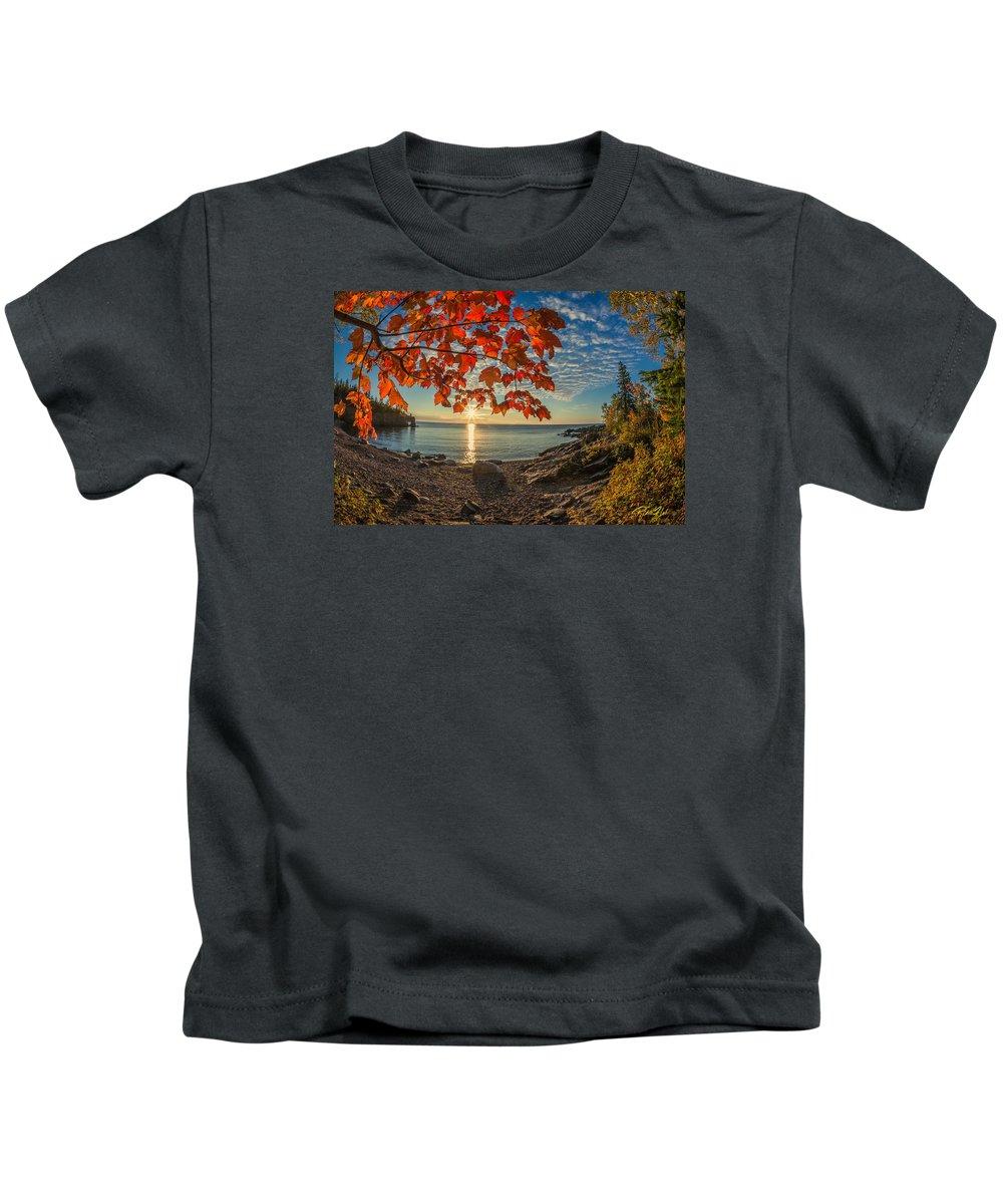Arch Kids T-Shirt featuring the photograph Autumn Bay Near Shovel Point by Rikk Flohr