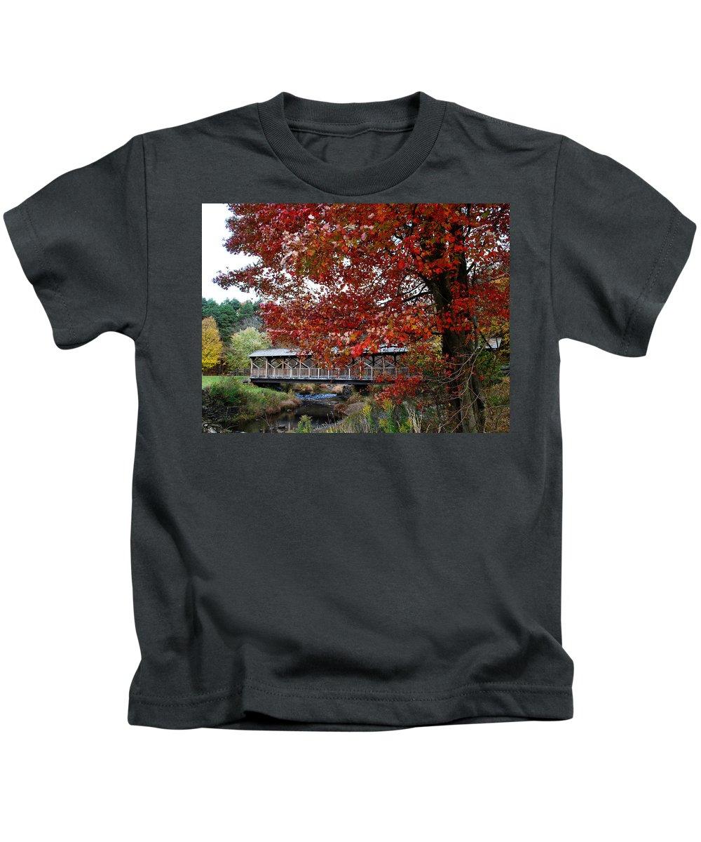 Landscape Kids T-Shirt featuring the photograph Autumn Bridge by Eileen Marie Ardillo