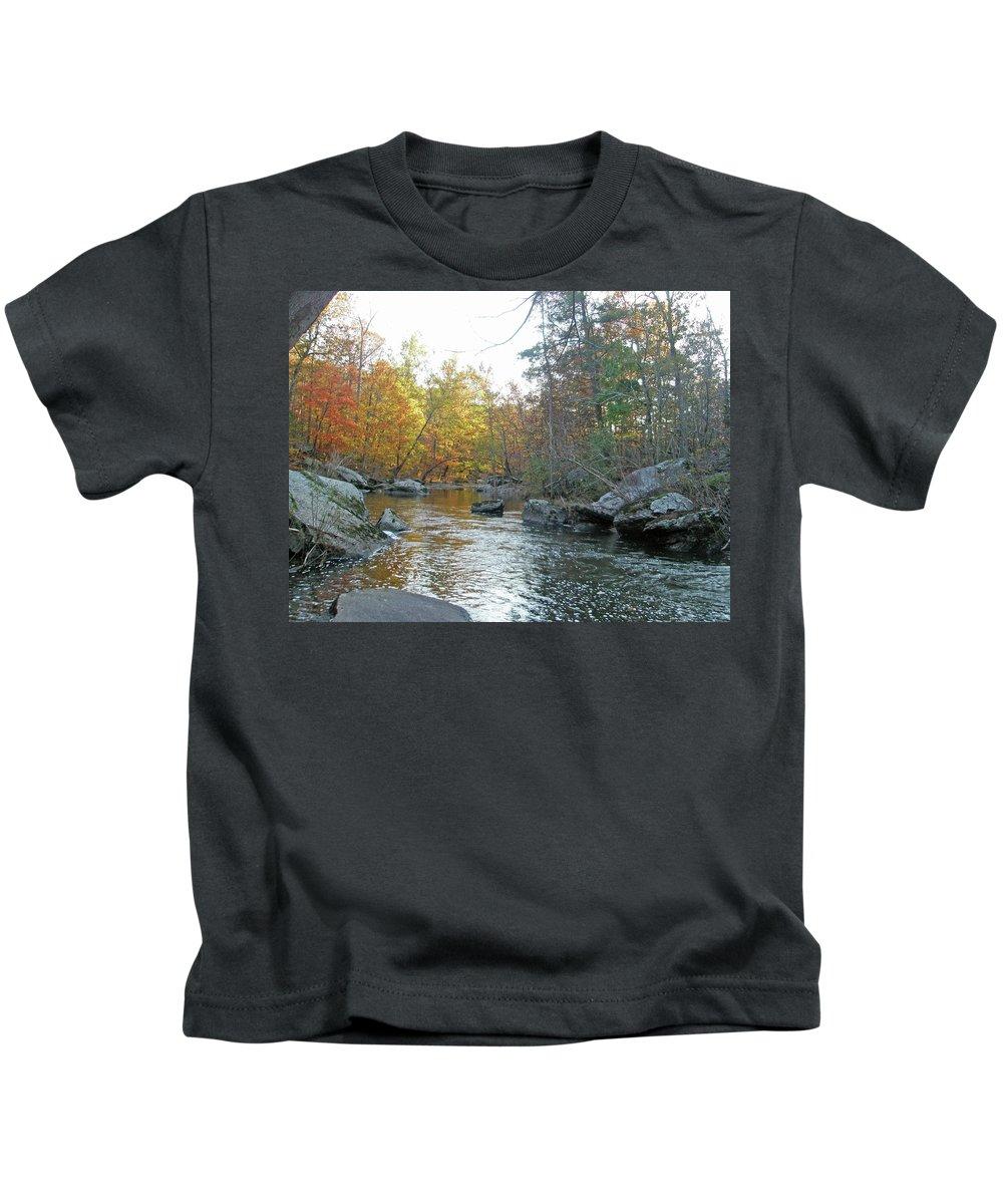 Creek Kids T-Shirt featuring the photograph Autumn Flows Toward Winter by Mother Nature