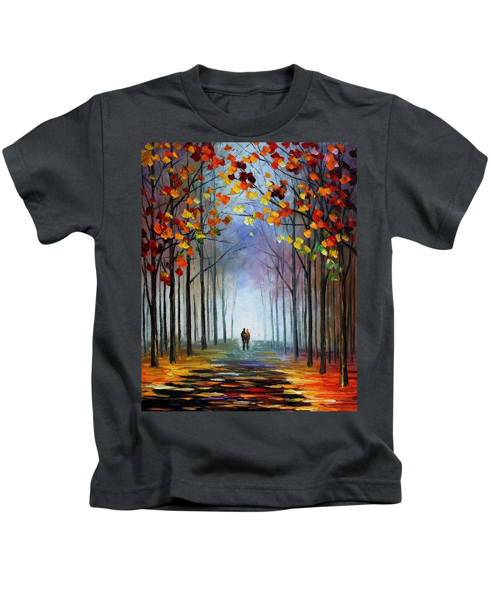 Art Gallery Kids T-Shirt featuring the painting Autumn Fog 4 - Palette Knife Oil Painting On Canvas By Leonid Afremov by Leonid Afremov