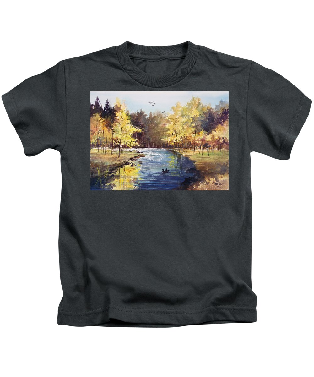 Watercolor Kids T-Shirt featuring the painting Autumn Impressions by Ryan Radke