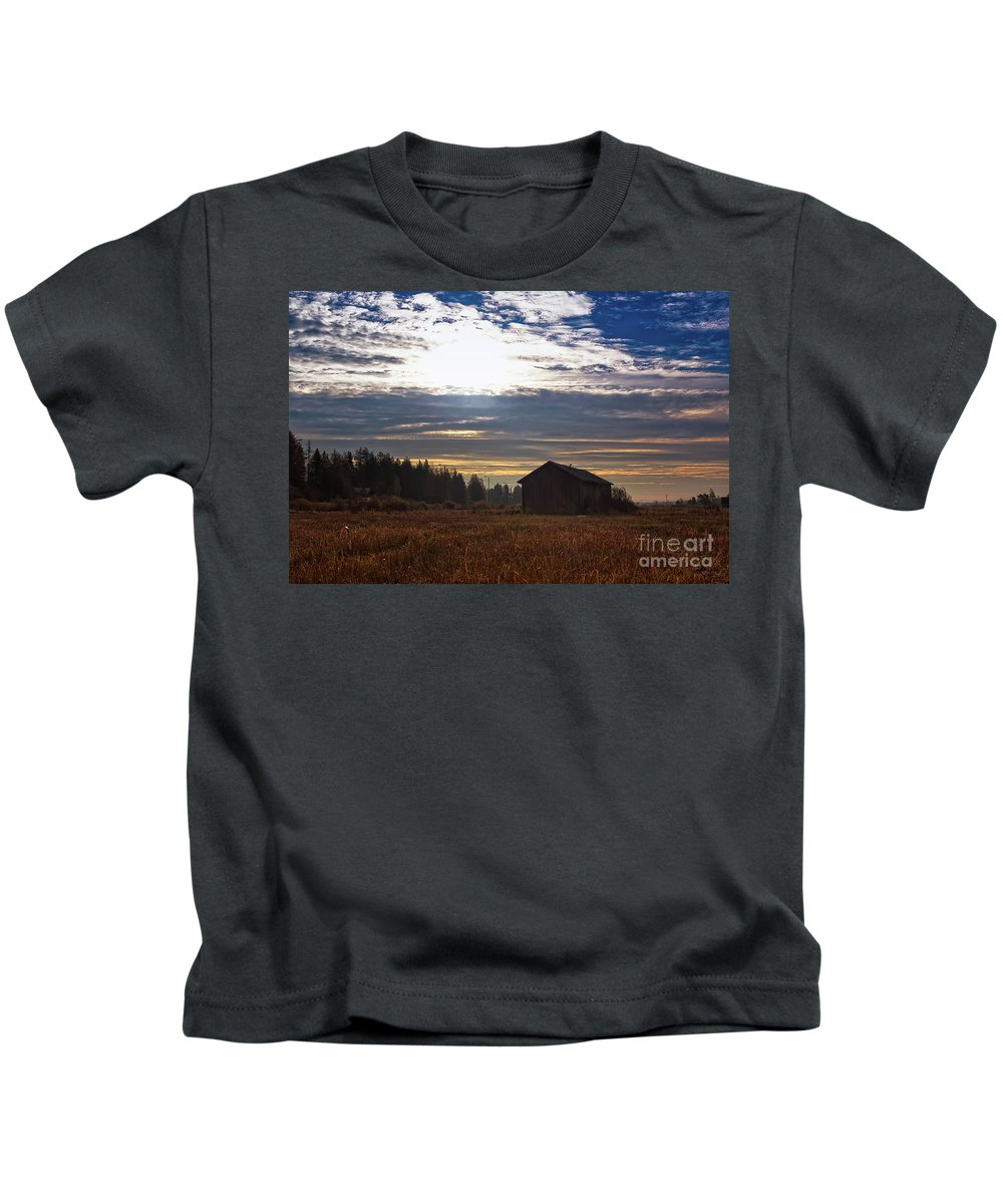 Copy Space Kids T-Shirt featuring the photograph Autumn Morning On The Fields by Jukka Heinovirta