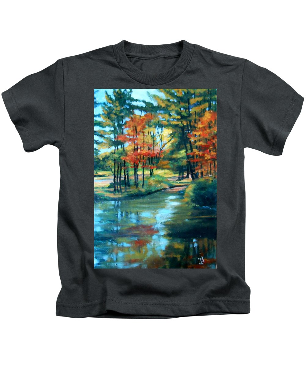 Autumn Kids T-Shirt featuring the painting Autumn On The Lake by Valerie Bassett