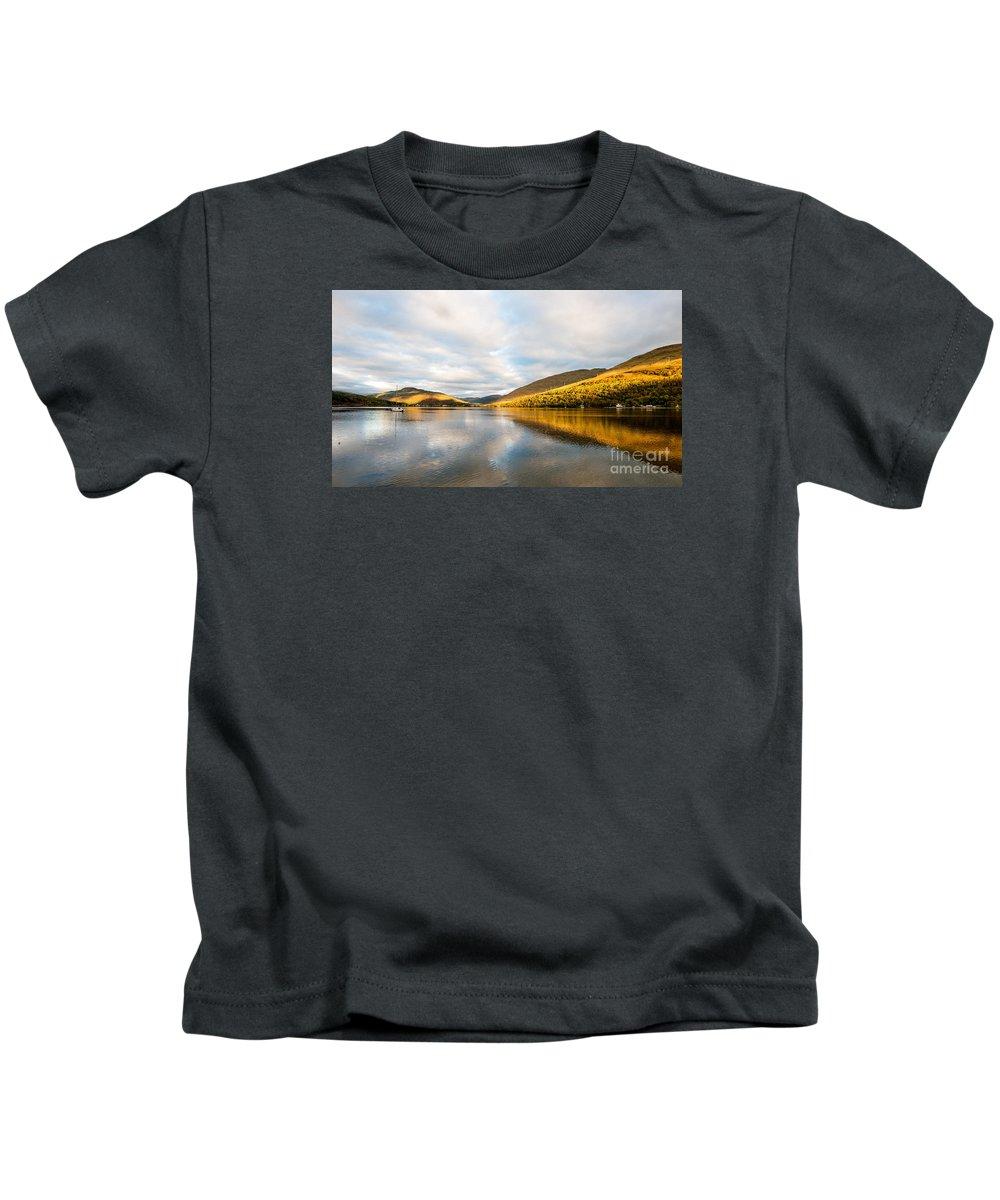 Arrocher Kids T-Shirt featuring the photograph Autumn Reflection At Arrochar by Richard Burdon