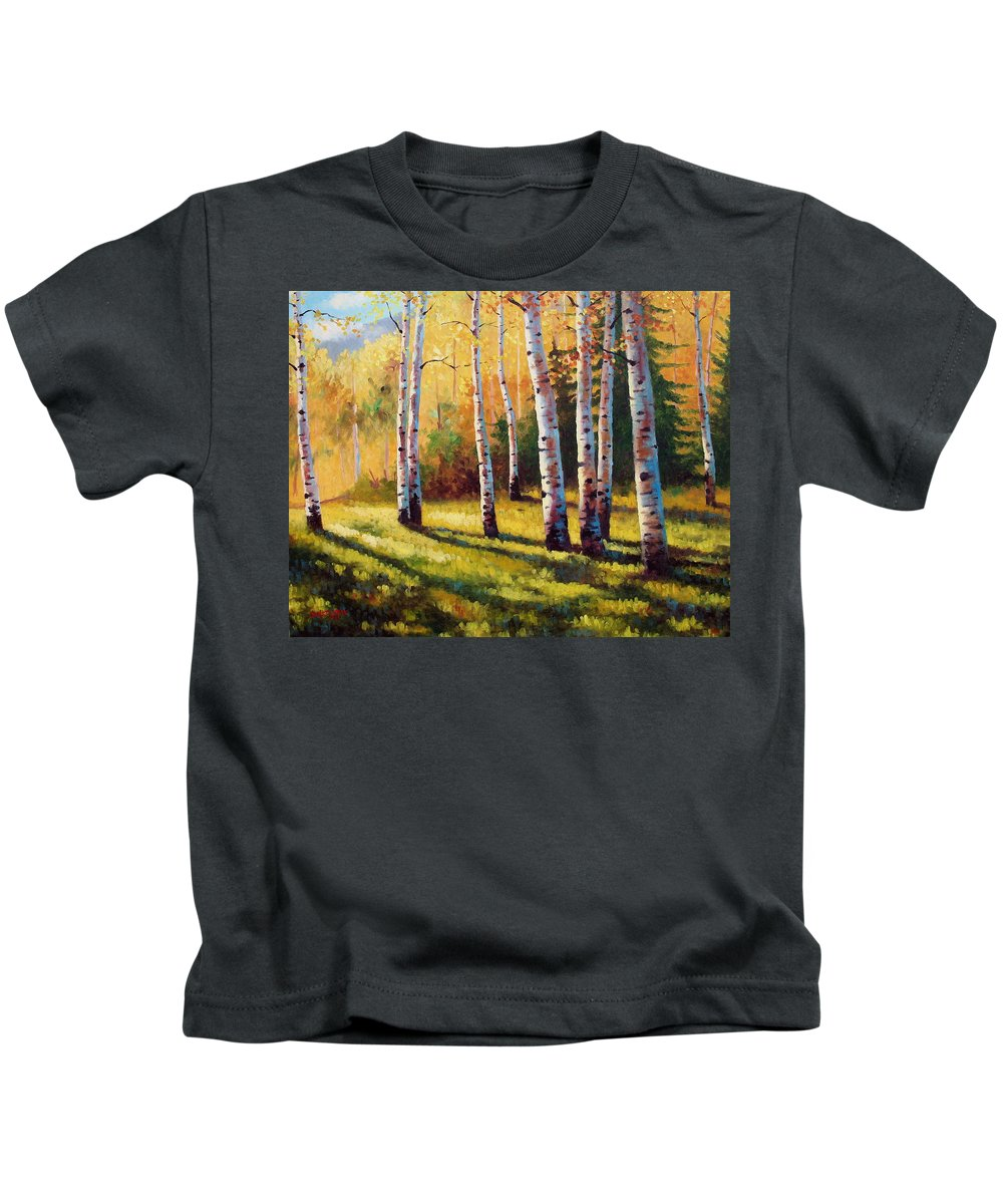 Landscape Kids T-Shirt featuring the painting Autumn Shade by David G Paul