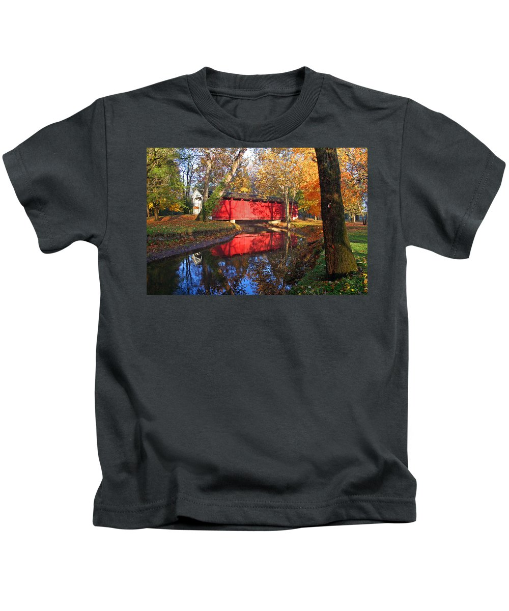 Covered Bridge Kids T-Shirt featuring the photograph Autumn Sunrise Bridge II by Margie Wildblood
