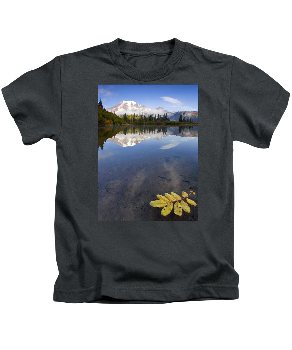 Rainier Kids T-Shirt featuring the photograph Autumn Suspended by Mike Dawson