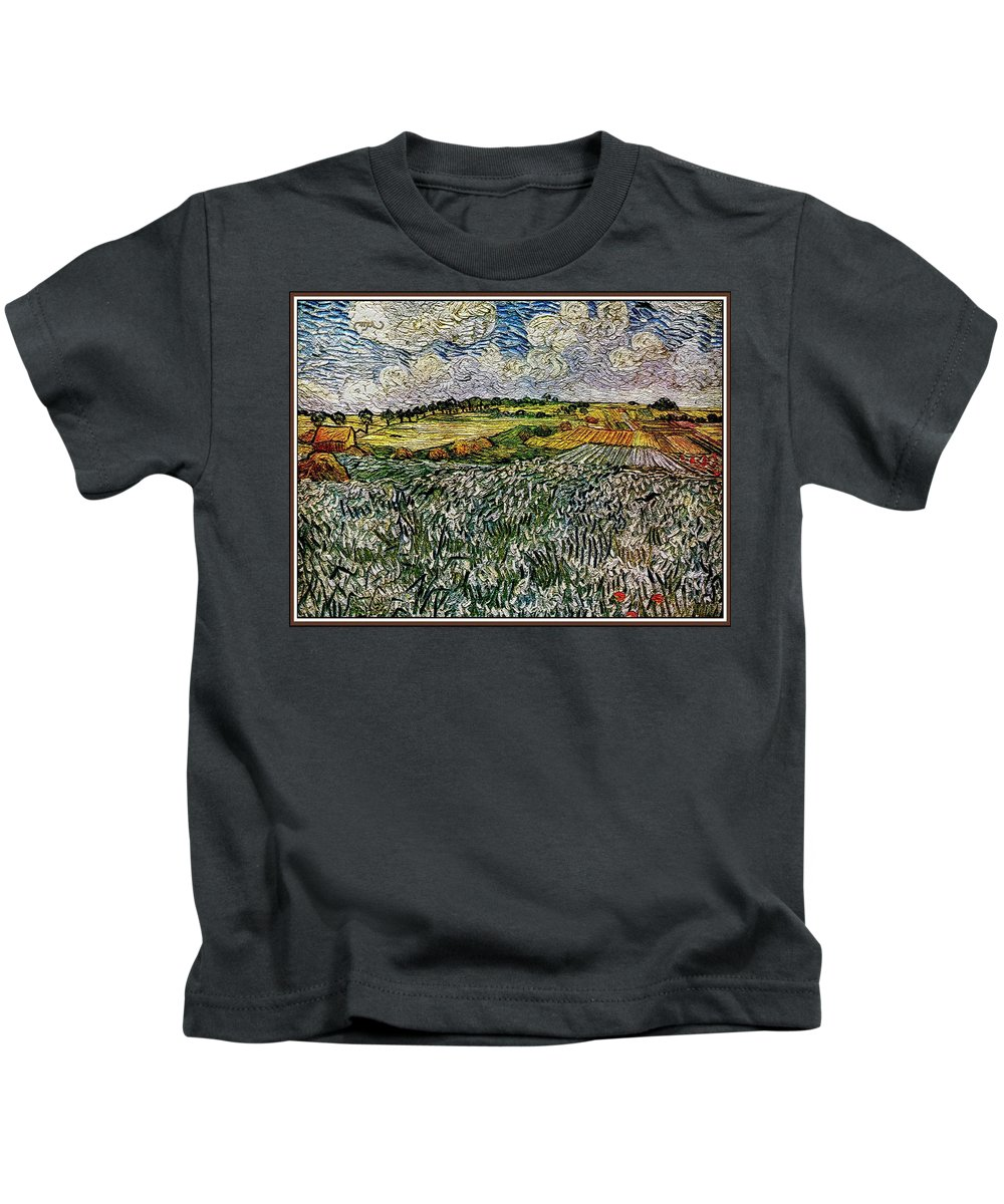 Landscape Kids T-Shirt featuring the painting Landscape Auvers28 by Pemaro